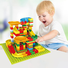 140 pcs Marble Race Run Block Compatible LegoINGlys Small Particles Slider Building Blocks Toys For Children Birthday Gift(China)