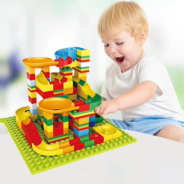 140 pcs Marble Race Run Block Compatible Small Particles Slider Building Blocks Toys For Children Birthday Gift