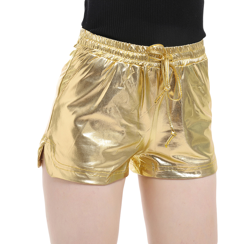 2020 Summer Holographic Wet Look Casual Elastic Drawstring Festival Rave Booty Shorts Women Shiny Metallic Shorts