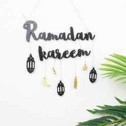Ramadan Kareem Decoratie Voor Thuis Moon Star Opknoping Hanger Ornament Houten Diy Craft Eid Mubarak Decor Festival Feestartikelen