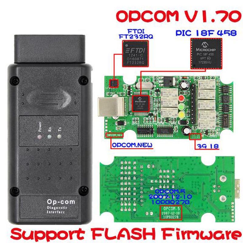 OP COM For V1.70 OBD2 OP-COM Car Diagnostic Scanner Real PIC18f458 OPCOM For Car Diagnostic Tool Flash Firmware