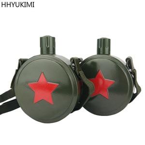 HHYUKIMI 304 бутылка для воды из нержавеющей стали, ретро-кувшин большой емкости, военный чайник для столовой, армейский зеленый с плечевым ремне...