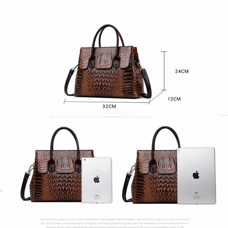 Kadın deri çanta kadın timsah lüks çanta kadın çanta tasarımcısı Crossbody çanta kadın büyük el çantası çanta deri çanta