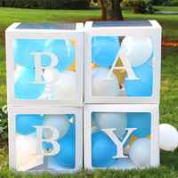 HUIRAN Girl Boy Baby Shower Decorations Transparent Box Baby 2 1st 1 One Birthday Party Decor Gift Babyshower Favors Supplies