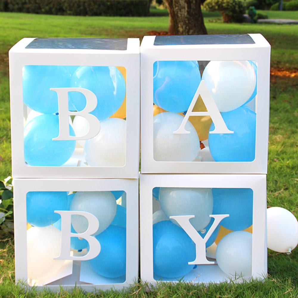 HUIRAN Girl Boy Baby Shower Decorations Transparent Name Age Box Baby 2 1st 1 One Birthday Party Decor Gift Babyshower Supplies
