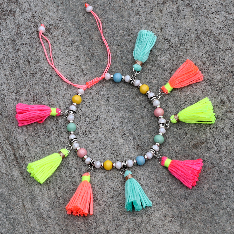 Anklets for Women 2020 New Fashion Crystal Wood Bead Strand Tassel Accessories Bohemian Beach Foot Jewelry Barefoot Anklet