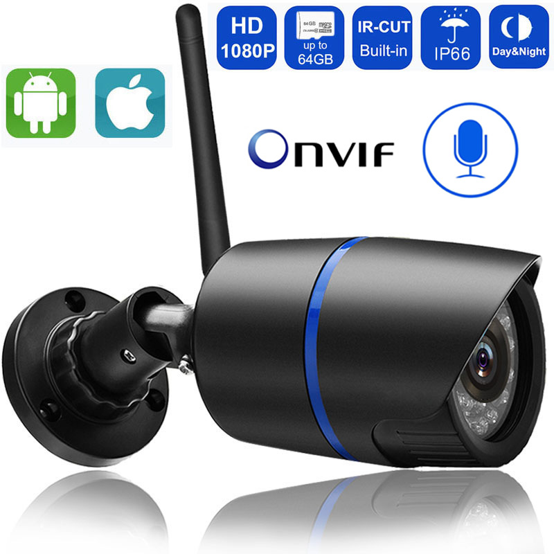 Outdoor wifi Camera 1080P 720P ONVIF Wireless P2P CCTV Bullet IP Camera Waterproof Audio Record Miscro SD Card Slot Yoosee App-in Surveillance Cameras from Security & Protection
