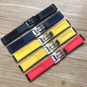 Image 2 - Top Quality 22mm Black Yellow Red Blue Nylon Rubber Watch band For Breitling Strap NAVITIMER WORLD Avenger navitimer bracelet
