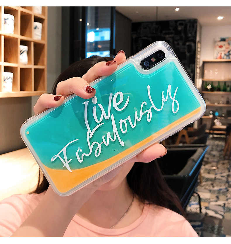 For Iphone 7 8 Plus 6s Gradient Quicksand Text Phone Case For IPhone X XS 7 8 Plus 6 6S Soft Silicone Luminous Cover Case