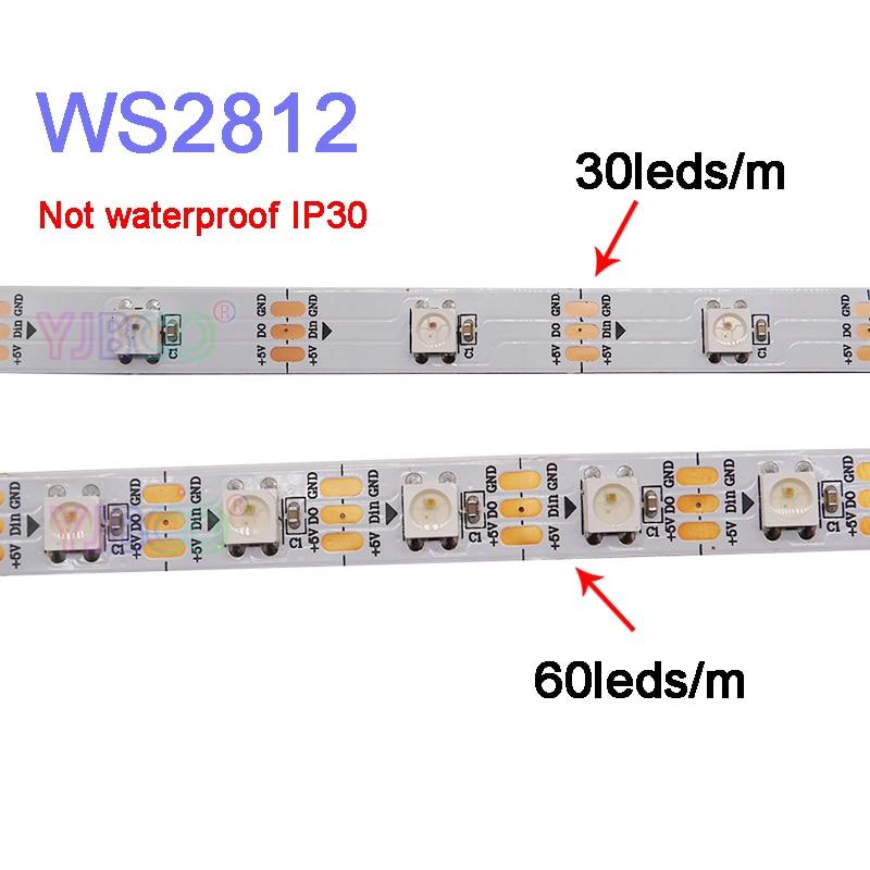 1m/2m/3m/4m/5m WS2812B Smart pixel led strip light;30/60/144 pixels/leds/m;WS2812 IC;IP30/IP65/IP67,DC5V led strip tape