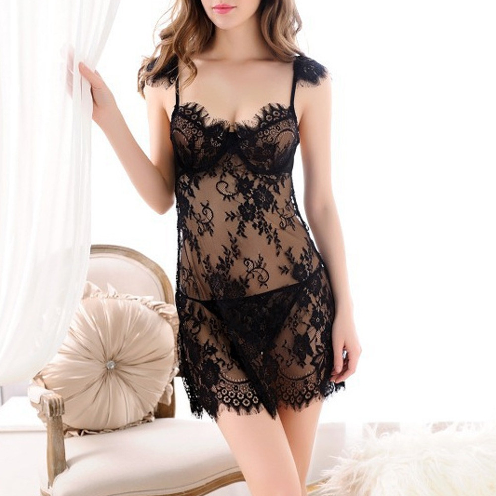 Sexy Lingerie Women Nightdress + Thong 2pcs Lingerie Hot Sale Underwear Sheer Nightie Sleepwear For Women Sleepwear Homewear *X