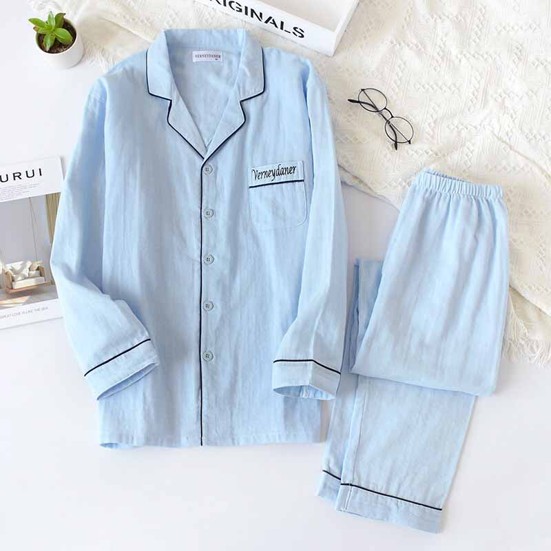 Spring And Fall Men's Pajamas Set Solid Color Turn Down Collar Simple Style Homewar Comfort 100%Gauze Cotton Casual Wear For Men