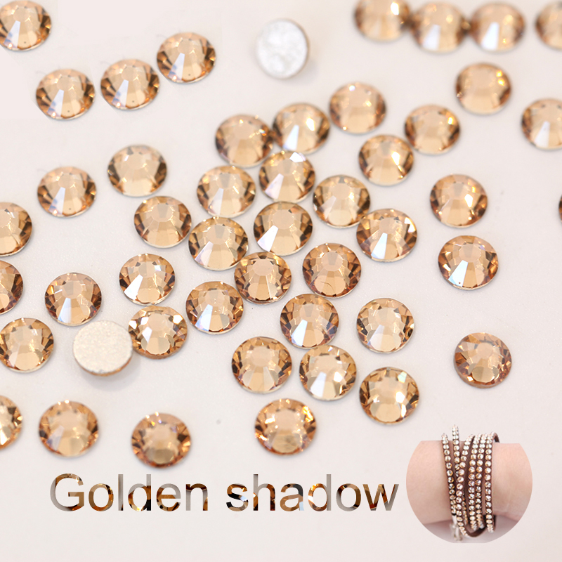 Oleeya золотые тени кристалл без горячей фиксации Стразы для ногтей золотые Шампань Свободные Стразы для украшения ногтей E7018