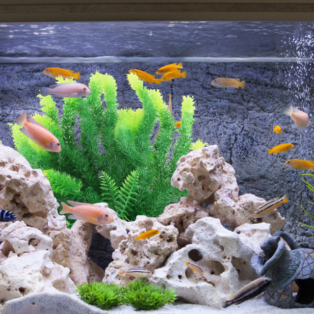 Underwater Artificial Aquatic Plant Ornaments Rockery Landscaping Turtle Fish Pet Tank Plant Water Grass Landscape Decor Adornos 2