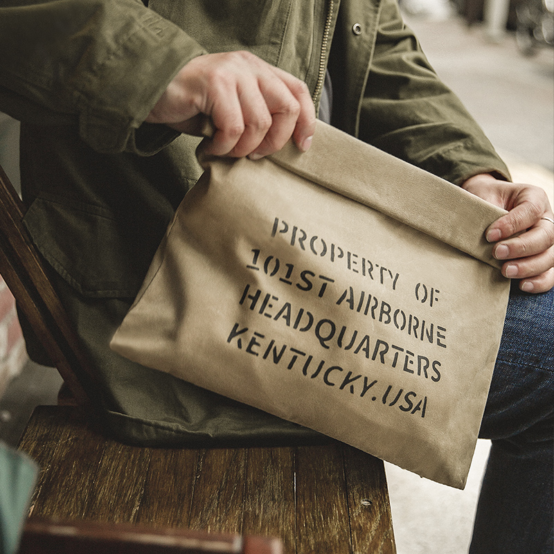 Maden Men's Vintage Military Oil Wax Canvas Handbag Khaki Casual Print Bag