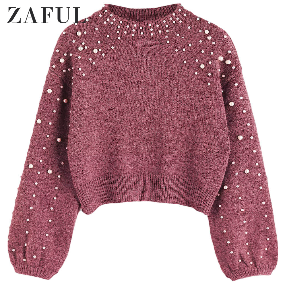 Zaful Winter Solid Women Causal <font><b>Sweater</b></font> Round Neck <font><b>3/4</b></font> Length <font><b>Sleeve</b></font> Female Pullovers Faux Pearl Cropped Feminino <font><b>Sweater</b></font> Jumper image