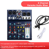 LEORY A6 48V Phantom 6 Channel Sound Mixing Console USB Record Sound Card Computer USB Audio Mixer DSP Mixing Console Karaoke
