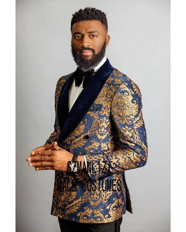 Trajes De Hombre Coat Pants Suits Men 2019 Navy Blue Velvet Lapel Floral Double Breasted Tuxedo Groom Wedding Suits For Men
