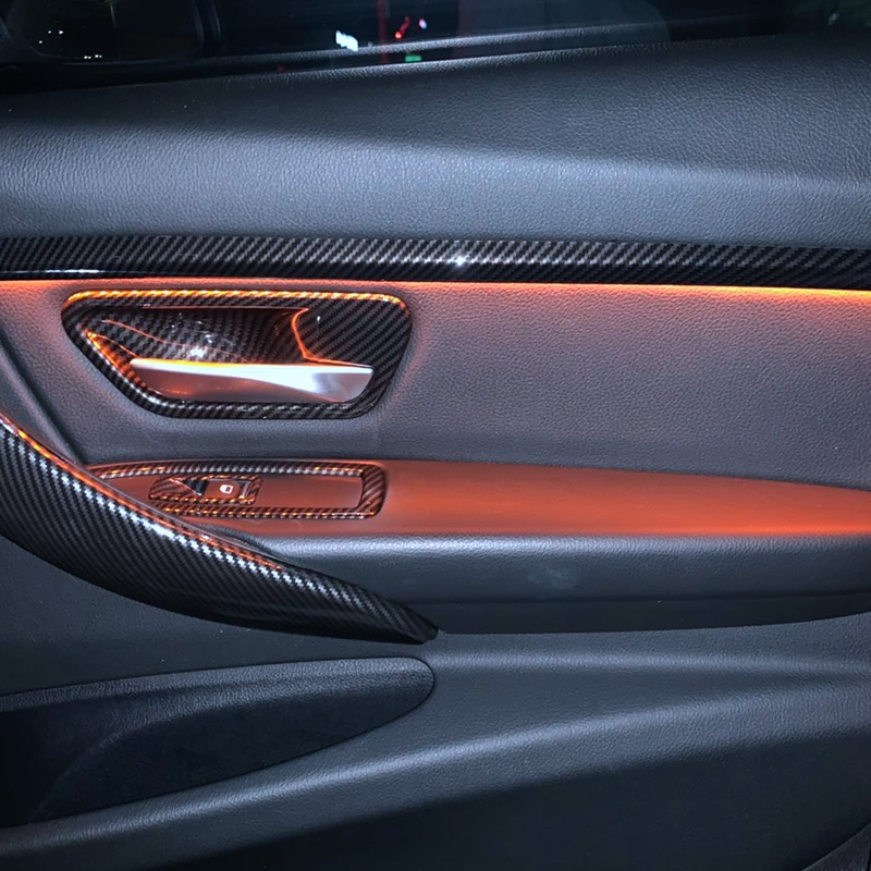Carbon Look Interior Door Handle Cover Trim For-BMW 3 Series F30 F31 GT F34 4 Series F36
