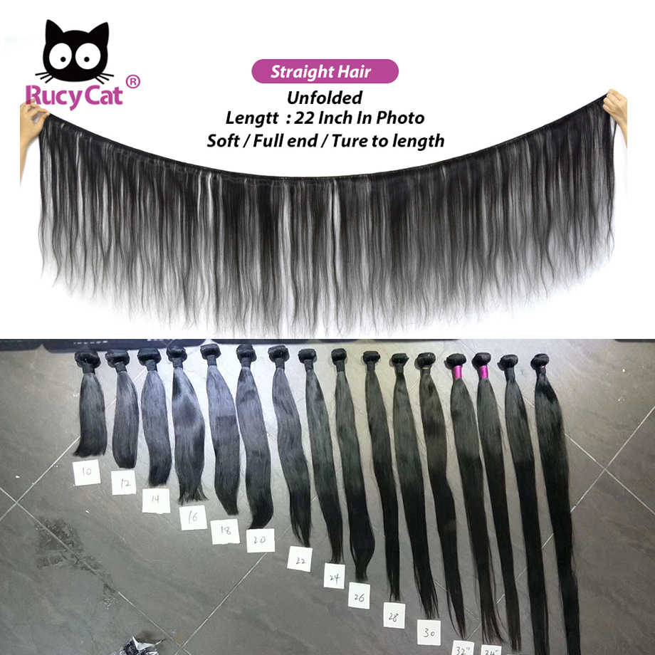 Rucycat 8-40 inç perulu insan saçı demetleri düz 100% Remy saç örgü demetleri 1/3/4/Lot saç örgü