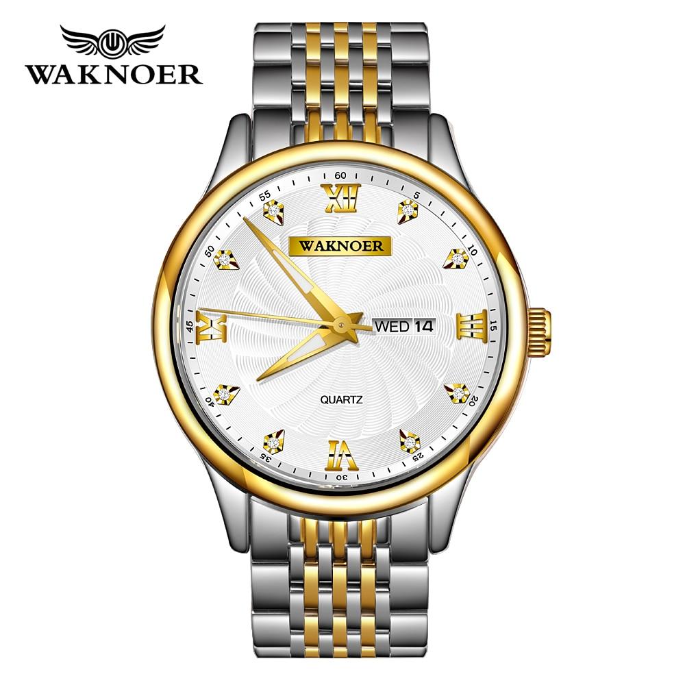 WAKNOER  Quartz Watch Men Fashion Waterproof Diamond Gold Spiral Dial Luminous Auto Date Week Display Top Brand Luxury Reloj