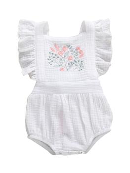Cotton Ruffle Sleeve Baby Rompers