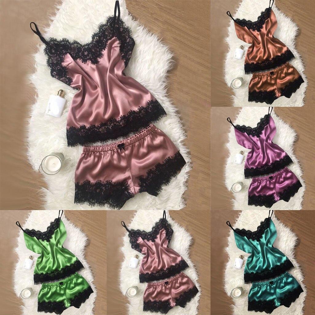 Women s Sleep Lounge Sexy Lingerie Silk Satin Nightwear Fashion Loose Lace Sleepwear Robe Summer Nightgowns