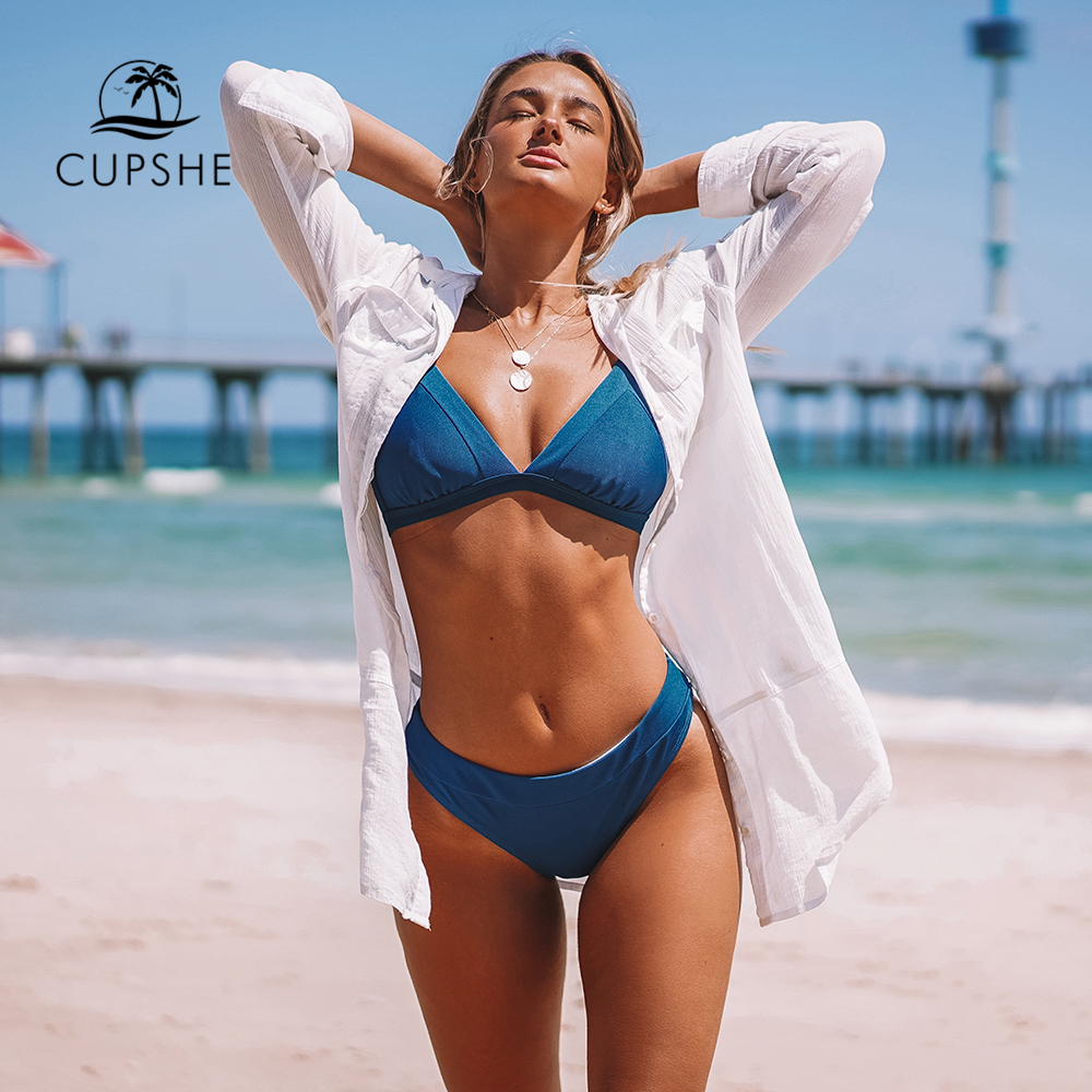 CUPSHE Blue Triangle Low-Waisted Bikini Sets Sexy Thong Swimsuit Two Pieces Swimwear Women 2020 Beach Bathing Suits Biquinis