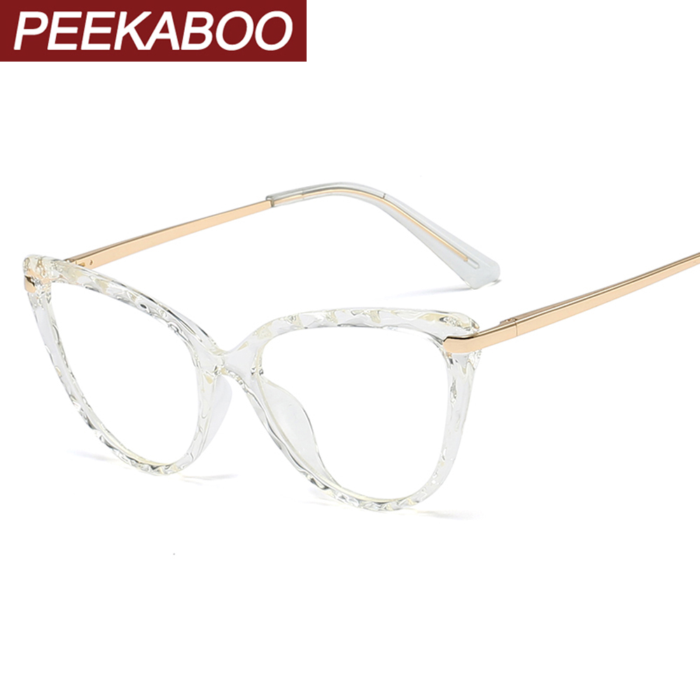 Peekaboo Tr90 Cat Eye Glasses Frames For Women Retro Half Metal Frame Prescription Glasses Transparent Black Spring Hinge