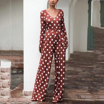Rompers Womens Jumpsuit Strappy Dot Print Long Sleeve V-Neck Wide Leg Playsuit Overalls Ropa Mujer 2020 Autumn Spring New Hot E v neck overlay dot print design playsuit in white