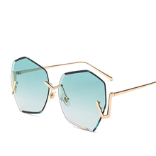 new fashion classic trimming sunglasses colored color lens transparent ocean piece polygon irregular