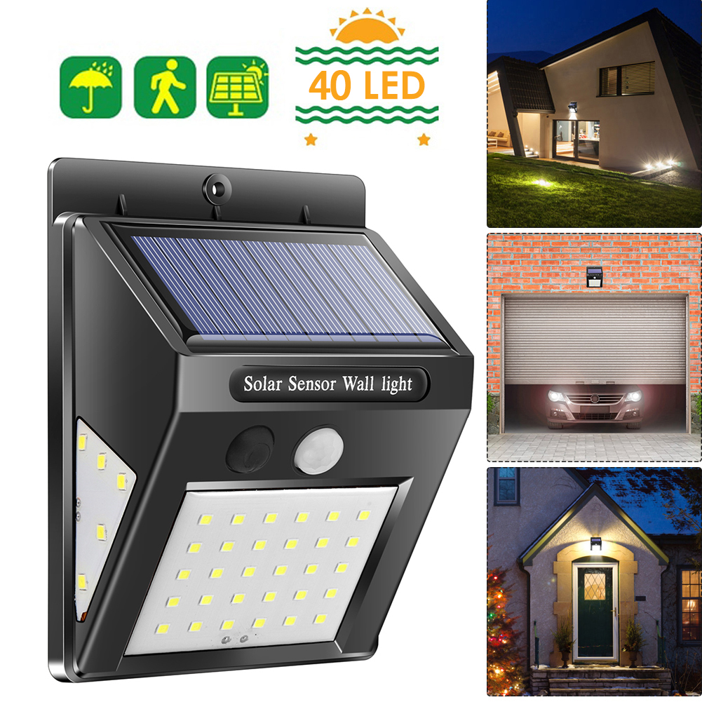 40 LED Outdoor Solar Light PIR Motion Sensor Solar Wall Lamp Waterproof Energy Saving Emergency Garden Yard Lights