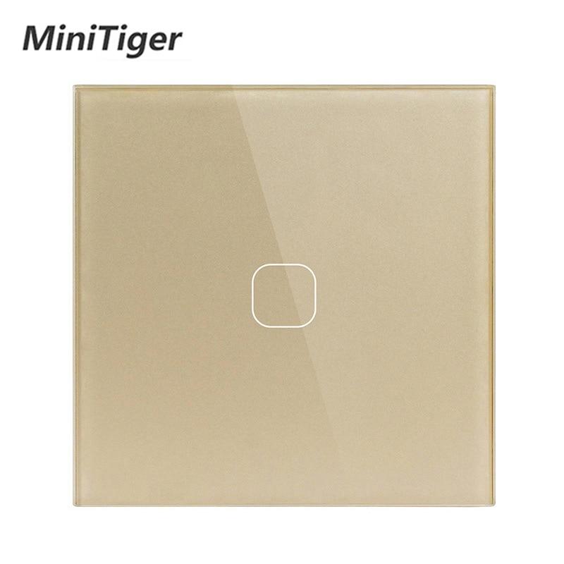 Minitiger Luxury Wall Touch Sensor Switch EU/UK Standard Light Gray Crystal Glass Touch Switch Power 1/2/3 Gang 1 Way AC 220 4