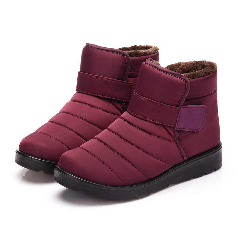 New Fashion Women Boots High Quality Waterproof Ankle Snow Boots Shoes Warm Fur Plush Winter Shoes