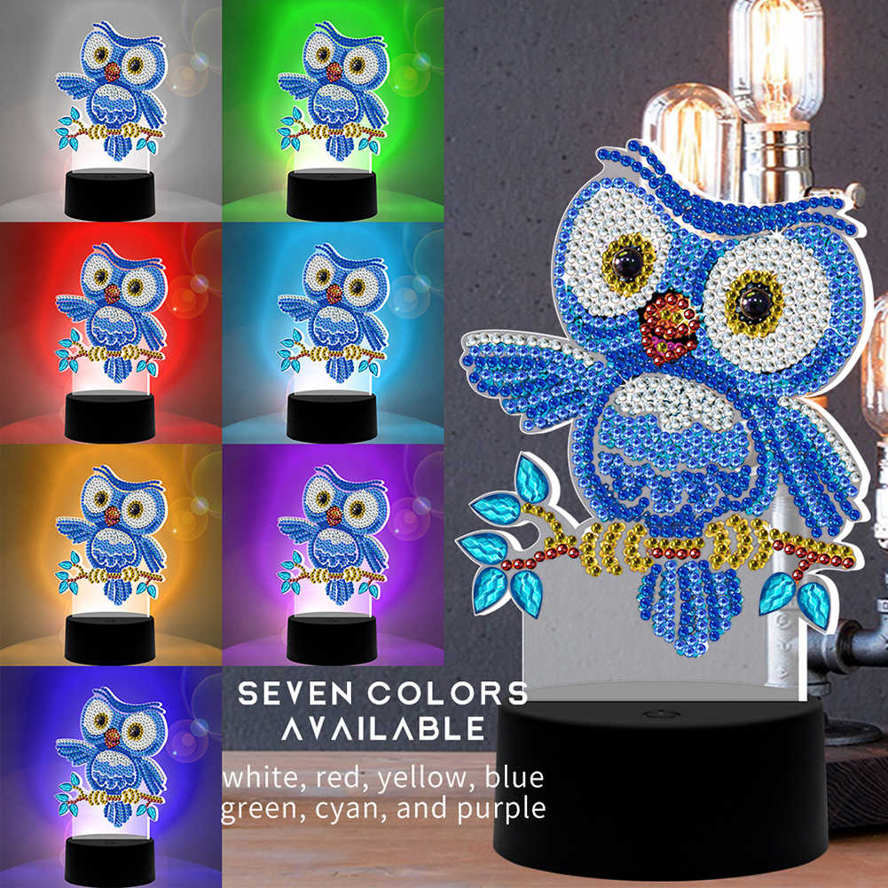 Special Shaped Diamond Painting LED Light DIY Embroidery Night Lamp Ornament