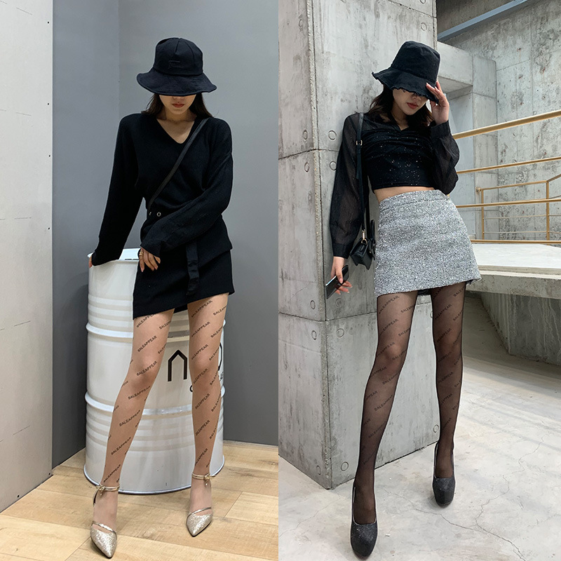 2020 Spring And Summer New Style Popular Brand Paris English Lettered Hot Selling Socks Versatile Cold Ultra-Thin Pantyhose