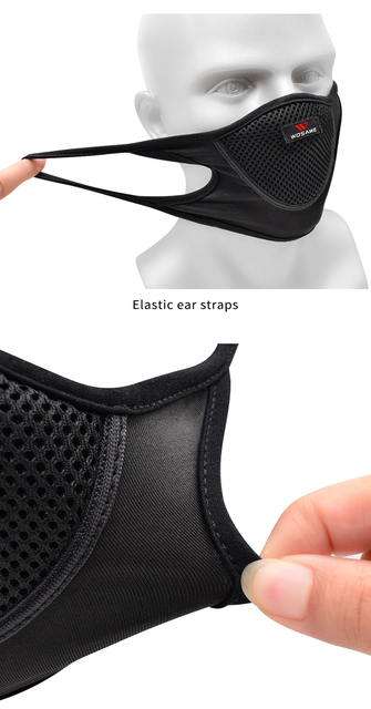 WOSAWE Washable Reusable Motorcycle Face Mask with Mesh Filter Breathable Mouth Covers Anti-dust Anti-smog Face Shield Outdoor 4