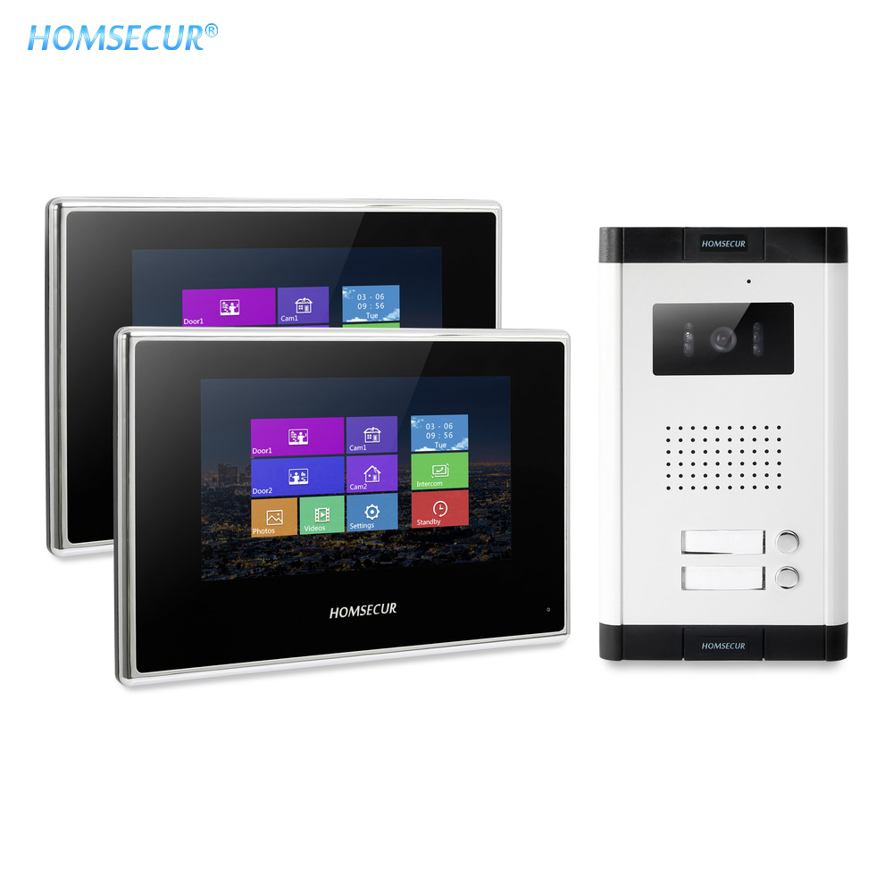 HOMSECUR Video&Audio Home Intercom with Aluminium Alloy Camera 800TVL for 2/3/4 Apartment XC061-2/3/4+BM718-B