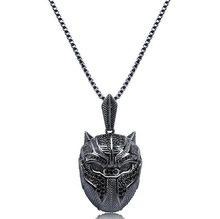 Clássico misterioso elemento escuro pantera máscara pingente colar moda charme festa colar