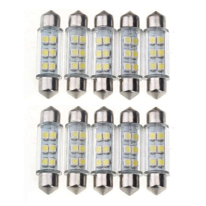 10 Pcs Lamp Light Torpedo 6 SMD LED White Dc 12v For Car License Plate 39mm