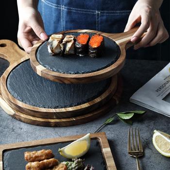 Płytki z litego drewna płytki talerz okrągły stek talerz zachodni bankiet talerz Sushi talerz zachodni dostępny w trzech rozmiarach tanie i dobre opinie CN (pochodzenie) ROUND Stałe