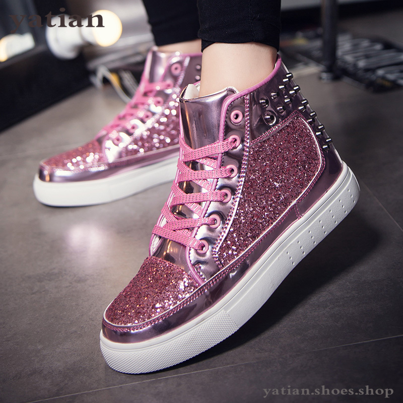 Male Skate Shoes Silver Pink Lovers Sequined Shoes Rivets Punk Glitter Shoes Men Sneakers Youth High Top Street Flats AG-72
