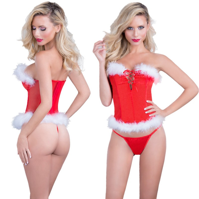 Sexy Underwear Women Sexy Lingerie Santa Claus Christmas Red Babydoll Dress Sleepwear Underwear Sets Christmas Party Erotic Wear