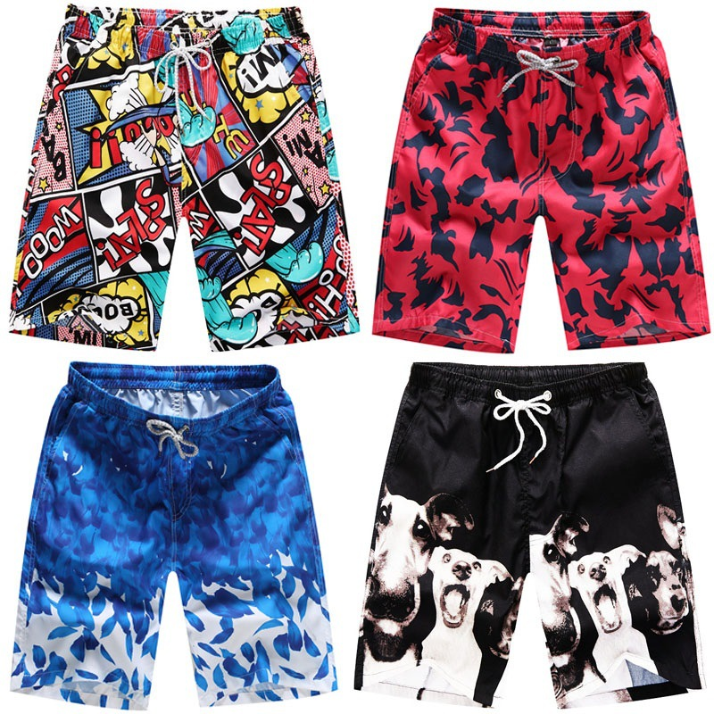 Antarctic Ice Penguin Mens Beach Board Shorts Quick Dry Summer Casual Swimming Soft Fabric with Pocket
