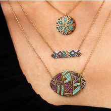 Luxury Multicolor Oval Pendant Necklaces Women Tribal Round Geometric Necklace Eye Crystal Jewelry