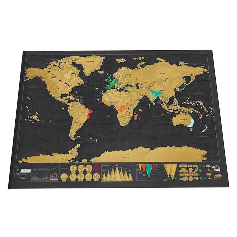 Deluxe Erase World Travel Map Scratch Off World Map Travel Scratch For Map 65x45cm Room Home Office Decoration Wall Stickers