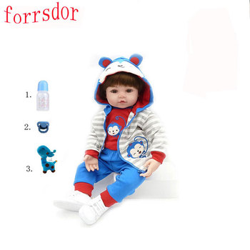 forrsdor bebe reborn 48cm reborn doll baby boy doll children gift lively bone cas soft silicone kid toy warkings reborn