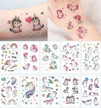 10pcs Kids Tattoo Temporary Tattoos Cartoon Unicorn Horse Fake Tattoo Sticker Waterproof Tatto Art Tatoo Hand Arm For Child Boy 1