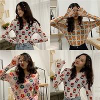 Photo Shoot Net Price Flower Printed Base Shirt Long sleeved T shirt Women's Summer Vintage Sense GIRL'S Underwear Weep Yafeng T
