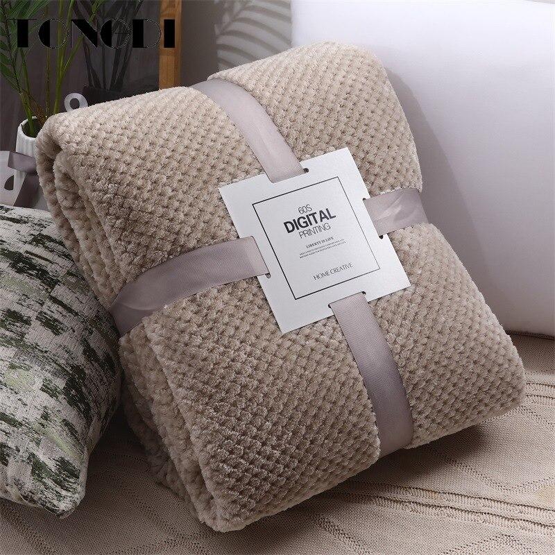 Tongdi macio quente fannel velo pele elegante cobertor sólido sofá capa para todas as estações máquina lavar colcha de pelúcia crianças